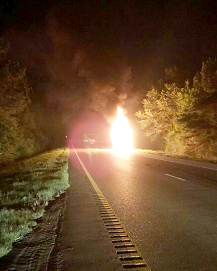 Photo by Mississippi Highway Patrol/A bus fire  at mile marker 27 on I-55 Saturday night closed both northbound lanes of traffic.