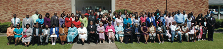 Members of St. James Missionary Baptist Church gather outside the church located on Monticello Street in 2013.