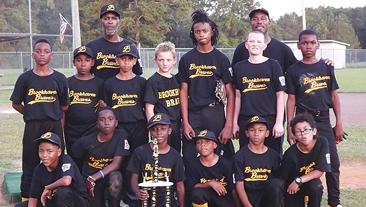 Photos submitted/ The Brookhaven Braves won the Dr. A.L. Lott little league championship earlier in the season and also competed in the Little League All-Star tournament in Hattiesburg last month. Team members are, bottom row, from left: Dequane Fox, Dominique Smith, Angel Wilkerson, Chris Bolian, Andrew Nelson and Anthony Perkins Jr. Top row:  Malchi Clark, Zackary Washington, Javiontre Thadison, Garret Carwyle, Edward Wells, Jr., Jacob Rushing and Kermit Sartin Jr. Coaches are Kermit Sartin Sr. and Greg McNulty .