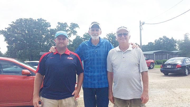 Photo submitted/ Winners of Thursday's Senior Men's Scramble with an overall score of  58 were Randall Harper, Mike Allen and Jerry Harper. The senior scramble is held each Thursday at 9 a.m. at the Brookhaven Country Club. Anyone interested in participating in the scramble must call in before 8:30 a.m. to sign up.
