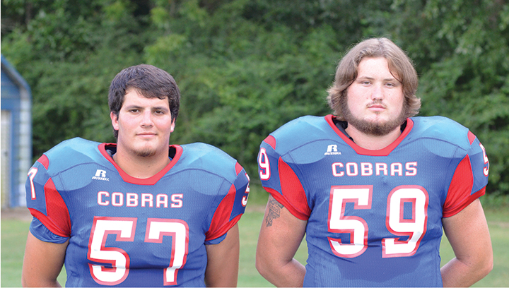 Photo by Anthony McDougle/ Matthew Craft (left) and Bobby Pritchard look to lead the way on the offensive and defensive lines for the Wesson Cobras in 2016.