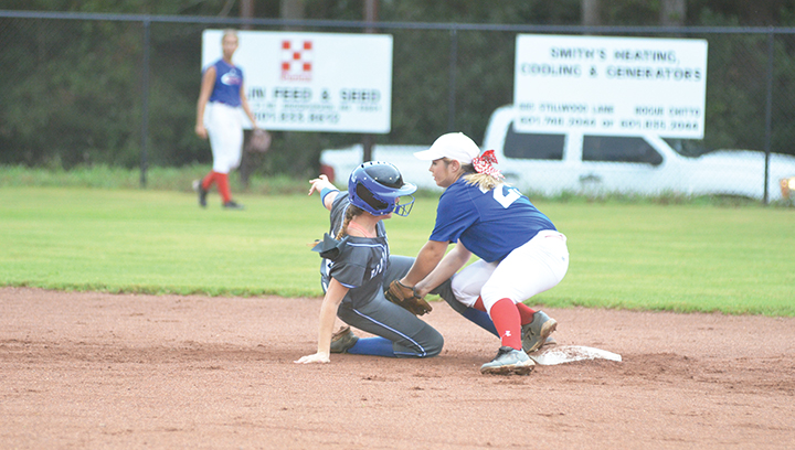 Photo by Anthony McDougle/ Brookhaven Academy's Kailyn Jordan slides safely into second base during the Cougars game against the Copiah Academy Colonels Thursday night.  Jordan hit two doubles in the game.