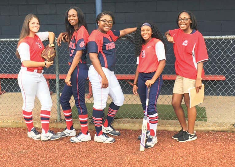 Photo  submitted /Macy Ziskin (left), Cheyenne Motley, Jada Henderson, Tia Bussey and  team manager Takia Brooks are the seniors on the 2016 Ole Brook slow-pitch softball team.