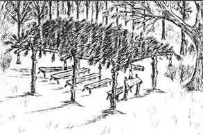 Diagram of a brush arbor similar to what was used as a gathering place when St. James first formed as the First Baptist Colored Church in 1913.