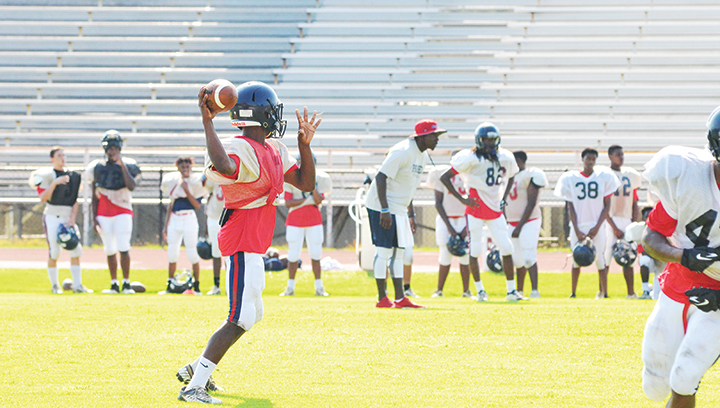 Photo by Anthony McDougle/  Ole Brook sophomore quarterback Sevante Quinn prepares to make a throw during the Panthers' first scrimmage of the fall.