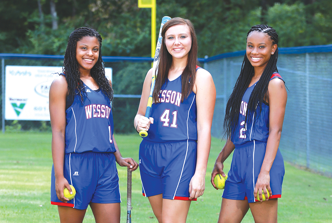 Photo submitted /Sabria Green (left), Harmoni Ashley and Aurianna Vaughn are the returning seniors for the Wesson slow-pitch softball team.