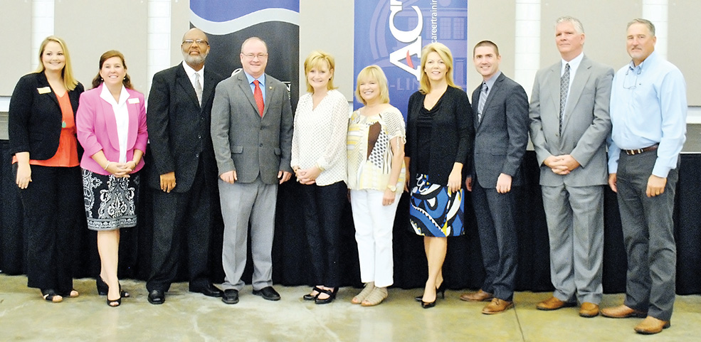 Photo submitted/Jackie Martin, Jane Hulon, Dexter Holloway, Ronnie Nettles, Cindy Hyde-Smith, Becky Currie, Sally Doty, Bobby Rush, Kenny Goza and Vince Mangold all gather for a photo Monday at the conclusion of the launch for an initiative to make Brookhaven and Lincoln County a Work Ready Community.