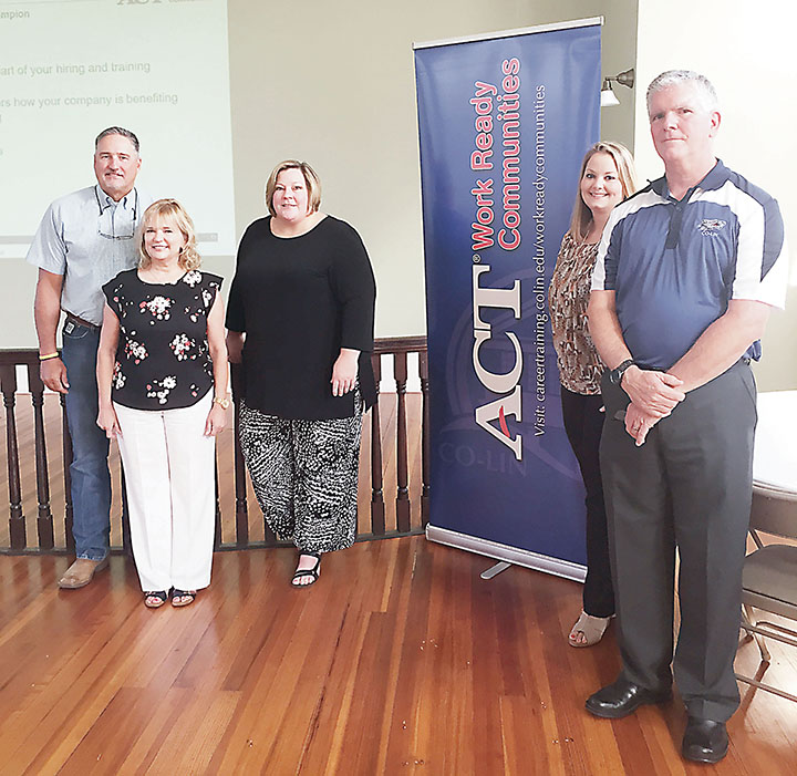 Photo submitted/Lincoln County representatives Vince Mangold (left) and Becky Currie, gather with Angela Berch, Jackie Martin, and Kenny Goza to recognize the Copiah-Lincoln Community College workforce placement program.