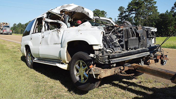 Photo by Bill Perkins/One person was killed in a traffic accident Wednesday morning on Hwy. 84 in Franklin County just west of the county line, authorities said. The crash happened in the eastbound lane and involved an SUV and alog truck, said Cpl. Brandon Fortenberry of the Mississippi Highway Patrol.
