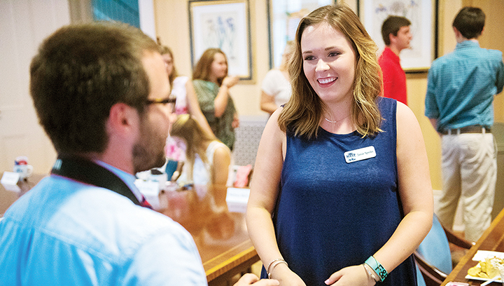 Photo submitted/Jamie Sproles, of Brookhaven, one of just 30 students enrolled in the freshman class of the Mississippi Excellence in Teaching Program at the University of Mississippi, recently met with faculty and administrators during the program's orientation at the Lyceum.