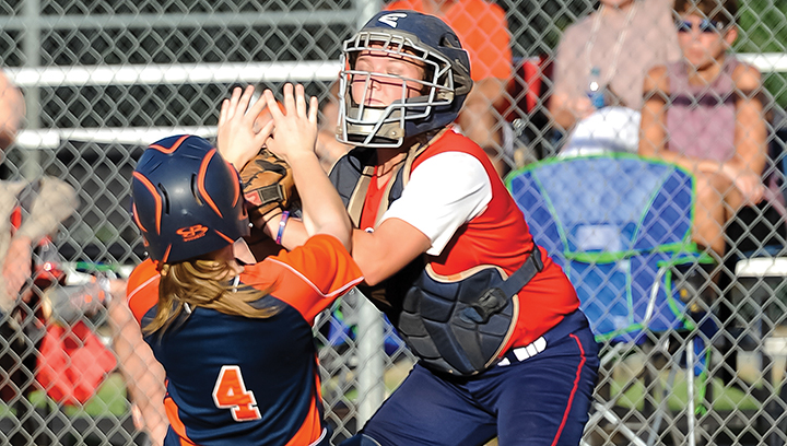 Photo submitted/Brookhaven catcher Madison Thompson tags a Wayne County baserunner during the doubleheader between the two teams Monday.