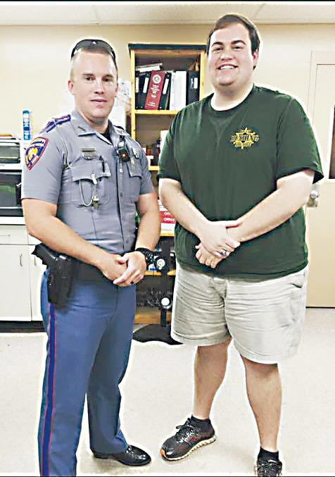 Photo submitted/Zach Harveston, a communications officer with the Lincoln County Sheriff's Office and Mississippi Highway Patrol (right), is raising funds to help his friend, trooper Mitchell Chappell (left) who was injured Sunday when his cruiser hydroplaned on I-55 while on his way to a wreck.