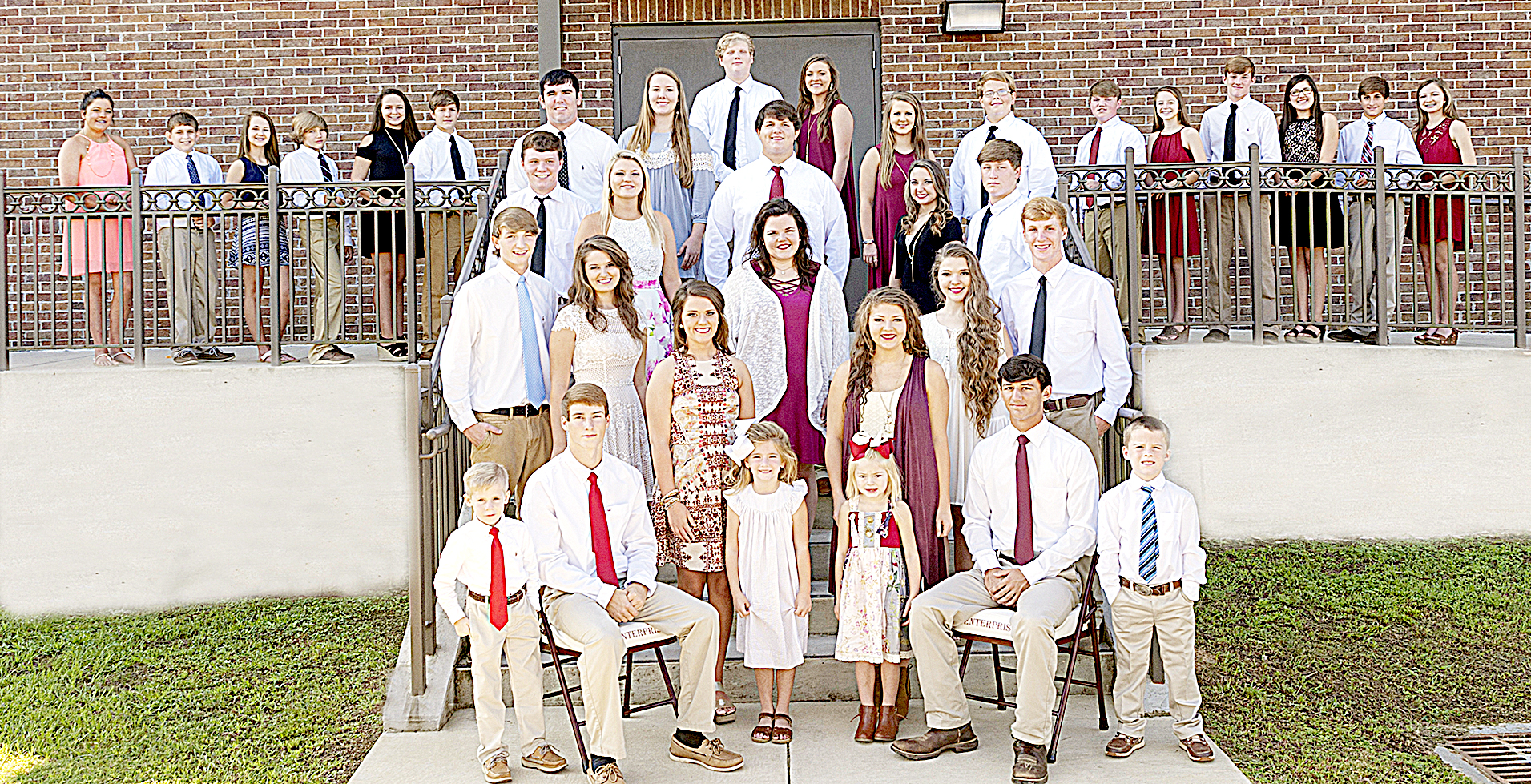 Photo submitted/ Homecoming for Enterprise High School is tonight. The homecoming court includes, front row, attendant Kayleb Gipson, left, escort Zach Hodges, homecoming queen Molly Burke, attendant Eliza Gunnell, Miss EHS Courtney Greer, attendant Baylee Nations, Mr. EHS Brant White and attendant Rosson Falvey; second row, escort Trevor Freeman, senior maid Marlee Francis, high school football maid Maddie Carter, senior maid Devan Hardin and escort Austin Carter; third row, escort Roman Carter, junior maid Karlee Burgess, high school football escort Lane Bessonette, junior maid Caley Cangemi and escort Kail Jordan;  fourth row, escort Hunter Richardson, sophomore maid Gracie Thompson, sophomore Jacy Wallace and escort Brad Lambert; and back row, seventh grade maid Anna Burgess, escort Dawson Smith, seven grade maid Celsey Bourn, escort John Rivers Brown, freshman maid Julia Ann Townsend, escort Dustin Prather, escort John Burns, freshman maid Kaylie Burgess, escort Chase White, junior high football maid Emma Waldrop, escort Dylan Carter, eighth grade maid Kaylee Ervin, escort Lawson Chemin and eighth grade maid Jessie Rippy.