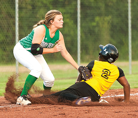Photo submitted/West Lincoln third baseman Adi Paden tags a Amite County baserunner in the Lady Bears' 7-1 win Tuesday.
