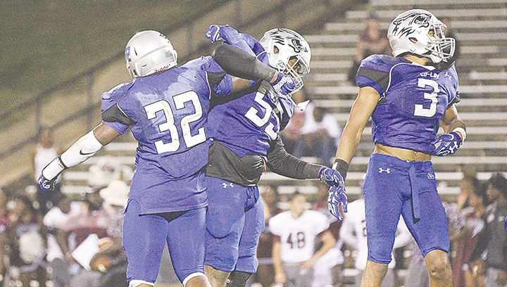 Photo by Amy Rhoads /Co-Lin linebacker Micheal Graham and defensive lineman Deion Pope will lead the Wolves' defense into its toughest test yet on the road against Mississippi Gulf Coast tonight.