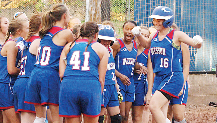 Photo submitted/Wesson's Nikki Guess comes in to home for her first career homerun during the Cobras' win against the Hazlehurst Indians Tuesday.