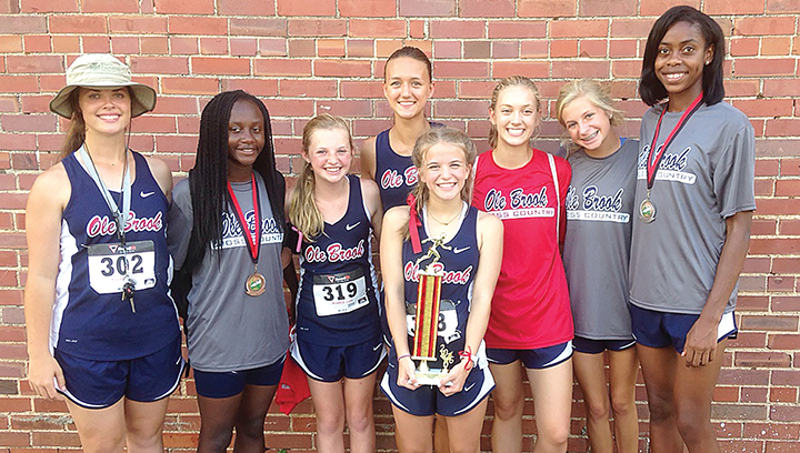 Photo submitted/The Ole Brook girls' varsity team of Macy Brabham, Miyah Miller, Emmaline Wolfe, Jordan Fries, Gracie Gray and Arnancy Arnold won first place in the Loyd Star Invitational Saturday.