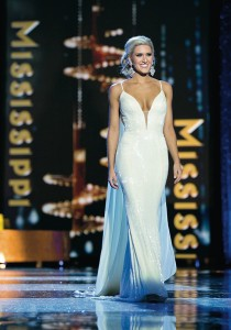 Photo  by B. Vartan Boyajian/MAO/Miss Mississippi Laura Lee Lewis walks the stage during the evening gown preliminaries Thursday night at the Miss America pageant.