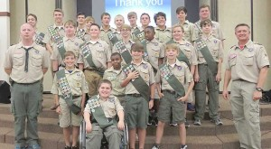 Photos submitted/The 31-member Boy Scout Troop 119 earned 138 individual merit badges throughout last year. They celebrated their accomplishments at a Court of Honor ceremony recently.
