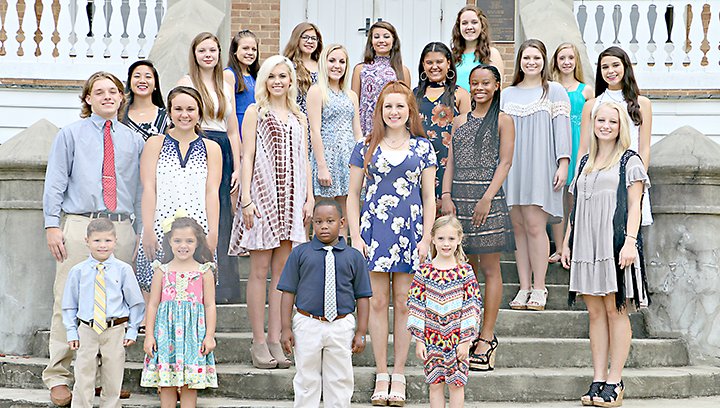 Photo submitted/Wesson Attendance Center will host the Mt. Olive Pirates at Stone Stadium on the Copiah-Lincoln Community College campus Friday. Presentation of Homecoming Queen Lacie Tarver and her court will begin at 6:30 p.m. with kickoff at 7 p.m. The Wesson court includes (front row, from left) Grady Smith and Kenzie Kay Lofton, attendants for Mr. and Miss Wesson; Micah Thomas and Adyson Rose Dowd, homecoming queen's attendants; (second row) Mr. Wesson Will Hulon, Miss Wesson Mary Beth Munn, Homecoming Queen Lacie Tarver, high school football maid Maya Granger; (third row) junior maid Kimberly San, senior maids, Sara Beth Ashley and Aurianna Vaughn; and junior maid Jasmine King; (fourth row) sophomore maid Katie Westbrook, freshman maid Cammie Terrebonne, freshman maid Catherine Wilson, sophomore maid Hannah Burgess; (back row) seventh grade maid Baylee Newman, eighth grade maid Avery Kyle, junior high football maid Alyssa Carraway, eighth grade maid Riley Barlow and seventh grade maid Vivian McRee.