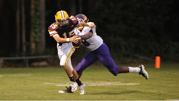 Photo by Teresa Allred/ Enterprise quarterback Zach Hodges rushed for 116 yards on 10 carries in a 27-14 loss to the Clarkdale Bulldogs on the road Friday night.