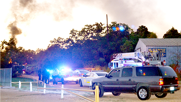 Photo by Donna Campbell/No one was injured in an explosion at McKenzie Metals on Saw Mill Lane. The explosion, which caused a fire in a metal trailer used to haul scrap metal, occurred about 6:40 p.m. Monday.