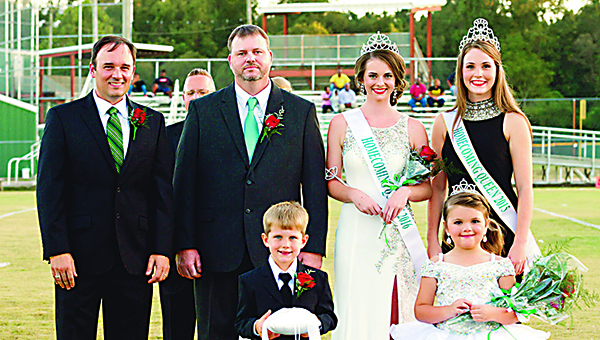 Photo by Theresa Allred / Katy Clark was named 2016 Homecoming Queen at West Lincoln Attendance Center Friday night. Pictured with her are (front, from left) Fisher Holcomb, crown bearer; Haleigh Beth Wallace, flower girl; (back) Principal John Shows; Albert Clark, Clark's father and escort; and 2015 Homecoming Queen Lexis Leggett.