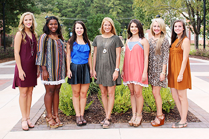 Photo submitted/Members of Copiah-Lincoln Community College's homecoming court from the Wesson Campus are freshman maids Madison Franklin, of Brookhaven (left); Alexandria Thomas, of Monticello; Anna Babb, of Natchez; 2016 Homecoming Queen Katie Grace Culpepper, of Brookhaven; sophomore maids Makenzie Davis, of Madison; Anna Beth Smith, of Brookhaven, and Caitlin Cade, of Brookhaven. The presentation of the homecoming court and the crowning of the 2016 Homecoming Queen will take place at 2:30 p.m. prior to kickoff of the Co-Lin vs. Southwest game Saturday in H.L. Stone Stadium on the Wesson Campus. The maids and the queen were elected by the student body in elections sponsored by the Student Government Association.
