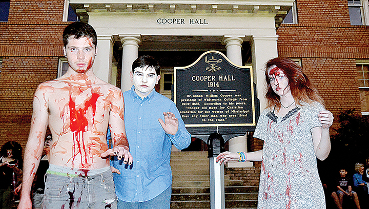 Photo by Donna Campbell/Christopher Aaron (left), Bradley Ducote and Autumn Beavers, all Bogue Chitto students enrolled at Mississippi School of the Arts, were frightening during the two nights of Halloween hijinks at the school's annual Artoberfest Haunted House. Cooper Hall was transformed into a Home Seekers Paradise. The house was only open through Saturday, but there are still opportunities galore to bargain for treats — or tricks — on Halloween night. No curfews were set in Wesson, Brookhaven or Lincoln County, but law enforcement officials urge parents and children to use caution when trick-or-treating. New Sight Volunteer Fire Department will be giving out candy beginning at 6 p.m. Monday. Several churches in the area are also hosting fall festivals tonight.