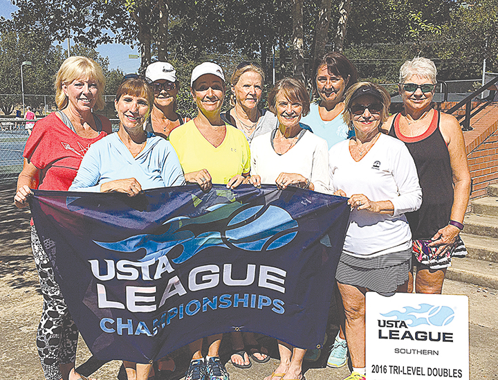 Photo submitted/The USTA Southern Tri-Level Sectional Invitational was held in the Jackson/Ridgeland area last week. Ridgeland Tennis Center and Bridges Tennis Center were the host sites.  Brookhaven's 3.0-4.0 55 & over women's team took home the title in their division. Members of the team are (front row, from left) Mary Ruth Caldwell, Cathy McDonnieal, Mary Nell Felder, Joyce Bedsole;  and (back row) Mary Angela Taylor, Tina Roberts, Rhonda Rayborn and team captain Leanne Summers.