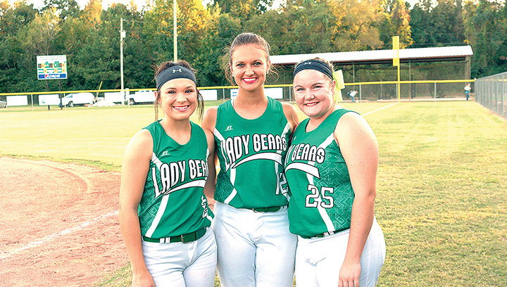 Photo by Teresa Allred /West Lincoln seniors Sara Jane Doty (left), Makennah Redd and Anna Brooke Davis were honored Thursday on the Bears' senior night.