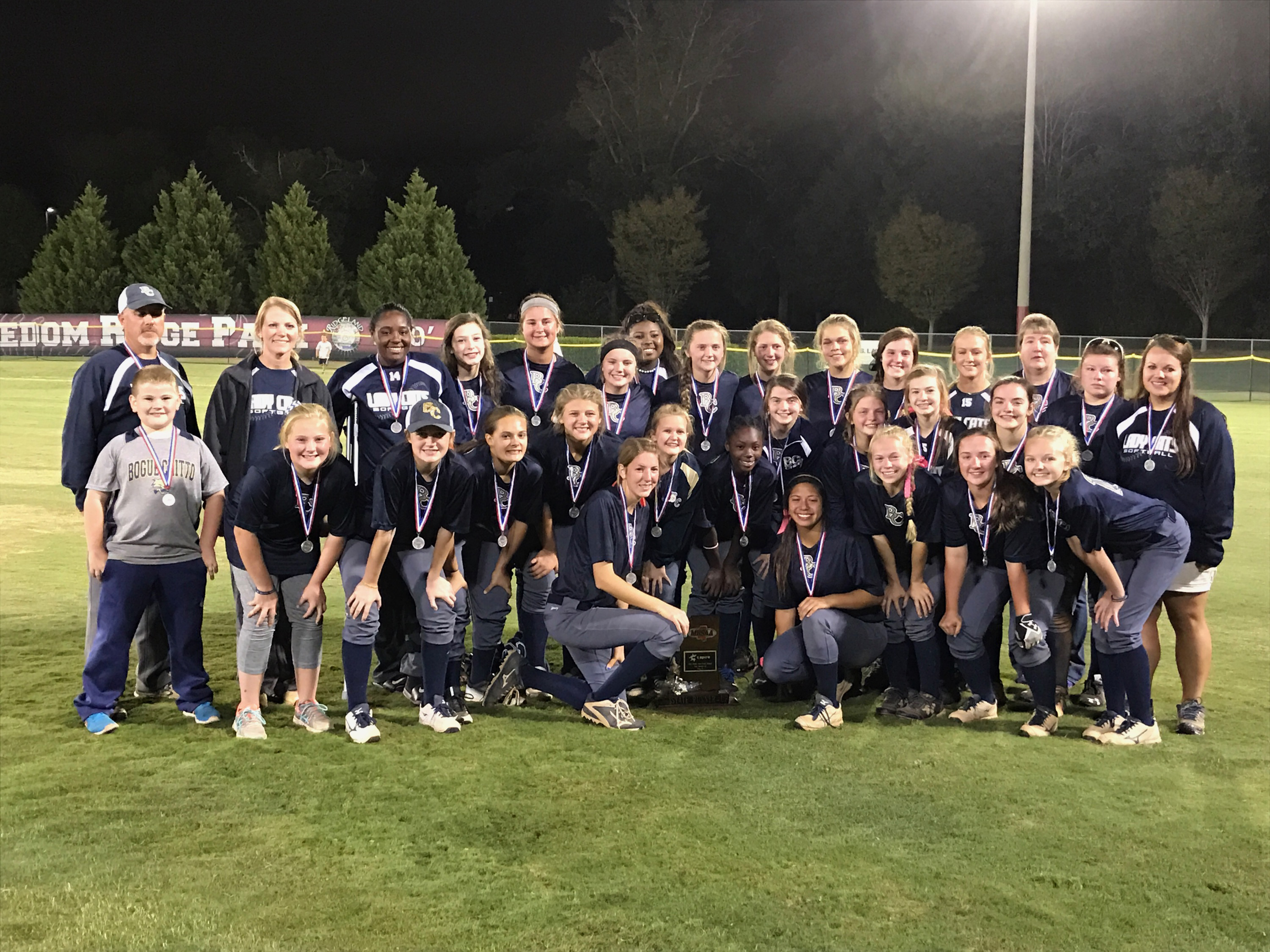 Photo by Stacey Leake\The Bogue Chitto Lady Bobcats lost to Hamilton Saturday in the Class 1A slow-pitch softball state championship. The Bobcats won Game 2 in a three-game series, beating Hamilton 19-15, but lost Games 1 (18-11) and Games 3 (15-2).