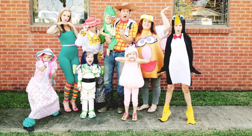 Photo submitted/The Balkcom family dressed as characters from their favorite movie Sunday for their church's annual fall festival. On the back row are Madeline (left), Sarah Elizabeth, Luke, Rev. Richard Balkcom and Andrea Balkcom; and front row, Hannah Elaine, Isaac, Victoria and Katherine.