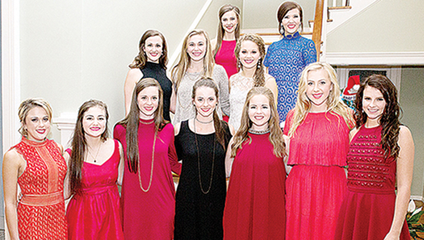 Photo by Amy Rhodes/ Mackenzie Jackson (middle row, second from left) was crowned the 2016 Miss Merry Christmas Monday at the Brookhaven-Lincoln County Chamber of Commerce. Jackson is the daughter of Robbie and Dena Jackson. Miss Merry Christmas participates in various activities such as the Christmas parade and Christmas Open House. The contestants are judged on personality, interview and poise and appearance. Contestants with the winner are Harley Smith (front row, left), Courtney Wyant, Kara Clark, Katie Clark, Abi Douglas, Missy Clanton and Michaela Marler; and Megyn Rhoads (middle row), Jackson and Julianna Mills; and Shelby Flumm (back row) and Mica Bailey Stewart.