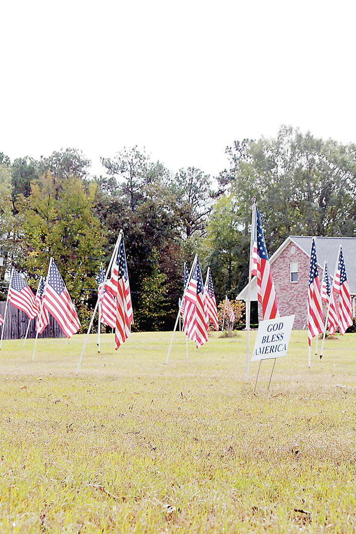Photo by Alex Jacks/Wesson resident Billy Mullins covered his yard with more than 100 American flags recently in honor of Veterans Day.