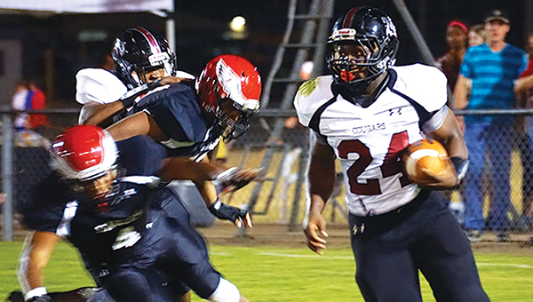 File Photo / Lawrence County standout Quitten Brown (24) makes a play downfield in a game earlier this season.