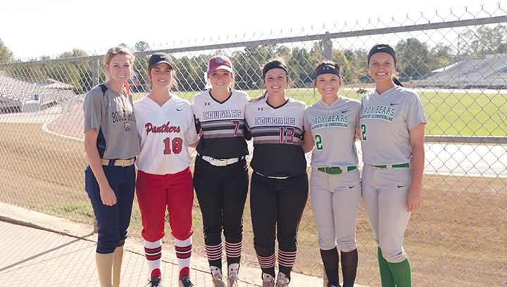Photo by Teresa Allred/Several area athletes participated in the MHSAA slow-pitch softball all-star games Saturday. The 4A/5A/6A South team won third place. The 1A/2A/3A team won first. Participating were:  Terrah Nelson, Bogue Chitto; Macy Ziskin, Brookhaven; Callie Fortenberry, Lawrence County; Amanda Rushing, Lawrence County; Sara Jane Doty, West Lincoln; and Makennah Redd, West Lincoln.