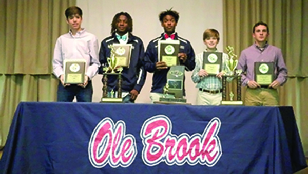 Photo submitted/Several Brookhaven cross country athletes were honored at a banquet recently. Boys awards: Andrew Knott, Most Improved; Adrian Lockwood, MVP; Antonio Dillon, Panther Award; Trace Brady, Junior High Scholastic; and Caleb McCreary, High School Scholastic. Girls awards: Merritt Wolfe, Junior High Scholastic; Jackie Madison, Most Improved; Carley Craig, Panther Award; Cristina Craig, High School Scholastic; and Arnancy Arnold, MVP.