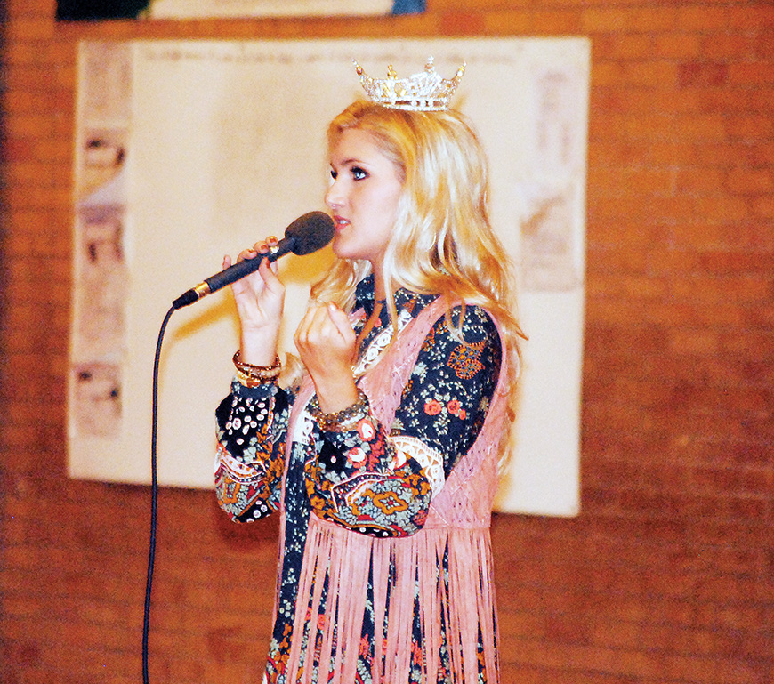 Photo by Aaron Paden/Miss Mississippi Laura Lee Lewis recently spoke to students at Lipsey School and Brookhaven Academy on behalf of the Servitium Club, an organization dedicated to serving the children of Lincoln County.