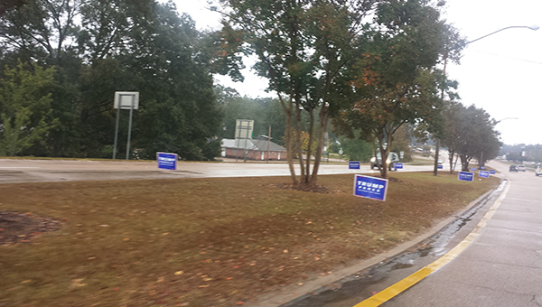 Photo submitted/Political signs endorsing Donald Trump were placed along Brookway Boulevard early Tuesday morning. It took 10 city workers two hours to collect the signs, which violated local ordinances because they were on public rights-of-way.