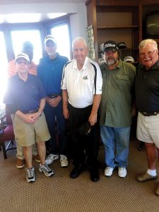 Photo submitted/The men's senior scramble is held each Thursday at 9 a.m. at the Brookhaven Country Club. Two winning teams consisting of Ronnie Grenn (left) Curtis Barnes, Mike Allen, John Darrington, Zeke Ellis and Craig Crozier were named recently.
