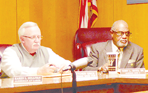 Photo by Orionna Brumfield/Terry L. Bates (right) claims he filled in as mayor of Brookhaven in the early 2000s after the resignation of W.W. Goldbold Jr. although records show him serving only as mayor pro tem. With Bates is Alderman Fletcher Grice.