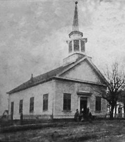 Photo courtesy of the Lincoln-Lawrence-Franklin Public Library / The first methodist church building cost $3,000 and was build by Thomas Lewis from hand-dressed lumber from Milton Whitworth's sawmill.