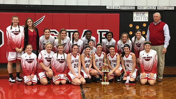 Photo by Nikki Diamond/The Loyd Star team is: kneeling: Malori Cade, Taylor Smith, Carly Beth Wallace, Katie West, Faith Bergeron, MaKenzie Smith, Lydia Britt, Caylee Grace Yarborough, Marley Poole; standing: Sarah Britt, Coach Laura McKay, Kelsie Foster, Whitney Watts, Jordan Kramer, Kaylan Smith, Kaylea Smith, Ta'Maria Townsend, Christie Patterson, Meagan Poole and Coach Gene Britt.