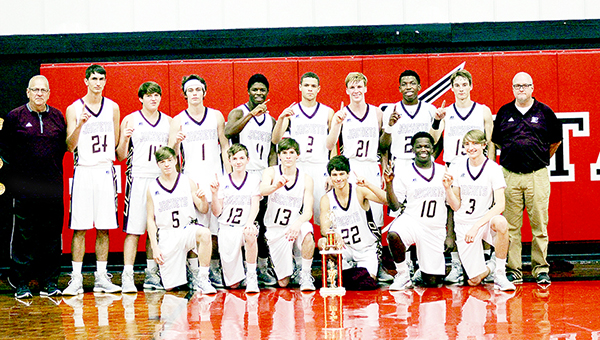 Photo by Nikki Diamond/The Enterprise team is: kneeling: Cody Leggett, Tyler Leggett, Hunter Bland, Austin Burns, Dylan Vaughn, Trevor Freeman; standing: assistant coach John Paul Williams, Ryan Amic, Peyton Jergins, Toby White, Darrin Richardson, Cade Feltus, Austin Carter, Dwayne Pendleton , Zack Hodges and head coach Shane Adams. I need to know why it wasn't done so I can give an explanation to Lance Moak at Brookhaven Funeral Home as to why it wasn't in today's paper.