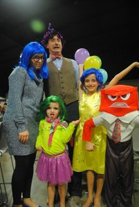 "The Belk family gets into character at the 2015 BARL Celebrity Dinner. Dressed as characters from ""Inside Out"" are (front) Eva Lou Belk; (back, from left) Betsy, Nic, Violet and James Belk."