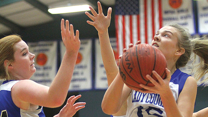 Sissy Byrd goes up for a contested shot in recent action.